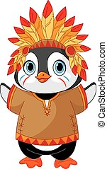 Native American Penguin - Illustration of cute Penguin wears...