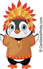 Native American Penguin - Illustration of cute Penguin wears...