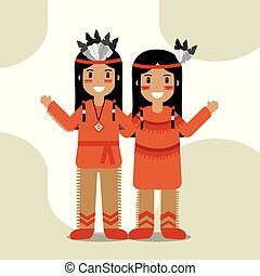 couple native american in traditional costume and headdress feathers culture vector illustration