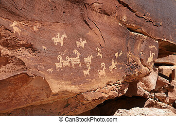 Native American Petroglyphs in Arches National Park