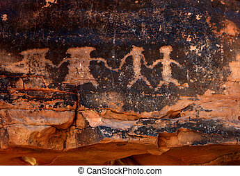 Native American Petroglyphs in Red Sandstone From the...