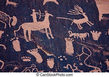 Native American Petroglyphs, Newspaper Rock, Utah -...