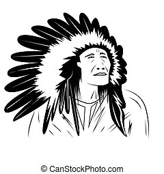 native american, portrait, black and white drawing, vector illustration