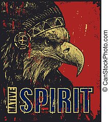 native American poster, eagle in war bonnet, vector...