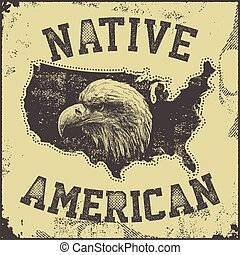 native American poster wiotheagle vector illustration