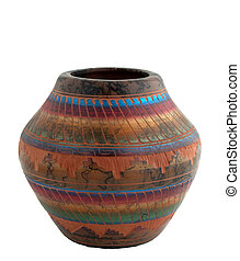Native american pottery isolated over white
