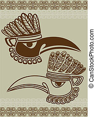 Native American raven mask with pattern