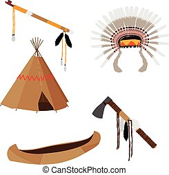 Native american set five icons