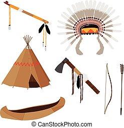 Native american set six icons