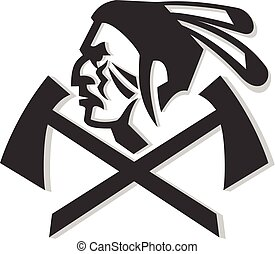native-american-side-hatchet-MASCOT - Mascot icon...