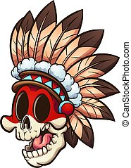 native american skull - Cartoon Native American skull with ...