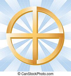 Native American Spirituality Symbol - Golden Medicine Wheel,...