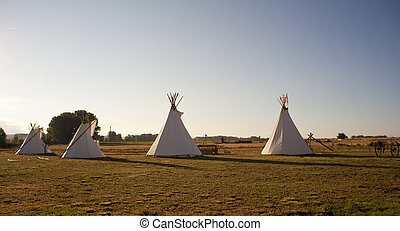 Tee Pees - Native American Tee Pees in the morning