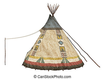 Native American Teepee - 3D digital render of a native...