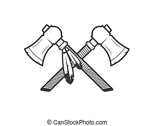 native american tomahawks on the white background