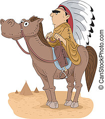 Native American Tribal Chief - Illustration of a Native...