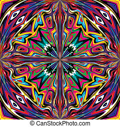 Artwork inspired by ancient motifs from Incas, Aztec in contemporary design and brilliant colors