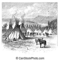 "Native American Village - ""Indian Village"". Vintage..."