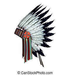 Native American War Bonnet - 3D digital render of a Native...