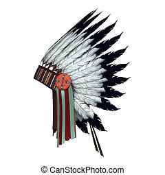 Native American War Bonnet - 3D digital render of a Native...