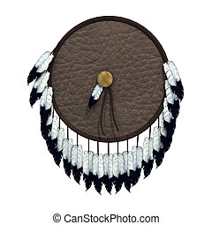 Native American War Shield - 3D digital render of a native...