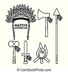 native american weapons tools icons set outline