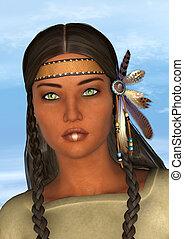 Native American Woman - 3D digital render of a beautiful...