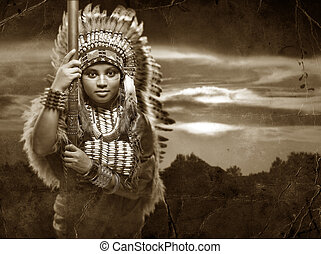 Native American Woman - a warrior Native American woman with...