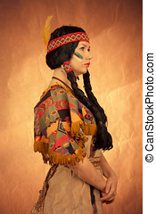 Native american woman toned image. Studio shooting