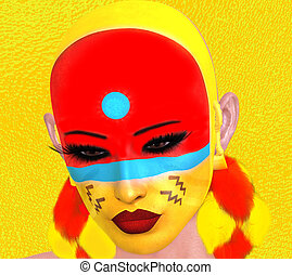 Native American Woman with abstract colorful painted face