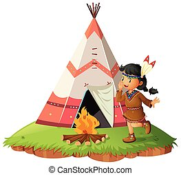 Native american woth teepee illustration