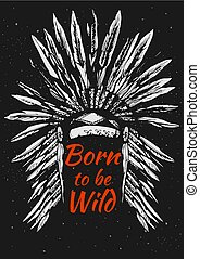 Native Americans feather headdress - Vector illustration of...
