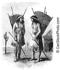 """Native americans from Pimo or Pima tribe. Illustration originally published in Hesse-Wartegg's """"Nord Amerika"""", swedish edition published in 1880. The image is currently in Public domain by virtue of age."""