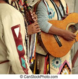 Native americans street musicians