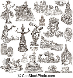 native and old art - hand drawn collection on white, isolated