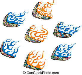Native Australian Boomerangs with Flames. Set of color...