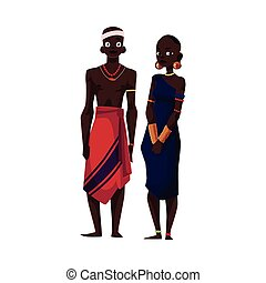 Native black aboriginal man and woman from African tribe,...