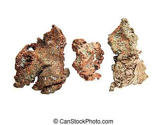 native copper nuggets - three small native copper nuggets...