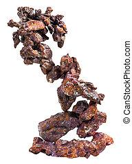 Native copper specimen isolated on white