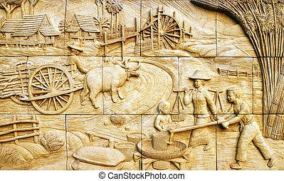 native culture Thai stucco on the stone wall, Thailand