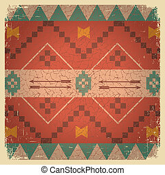 Native ethnic ornament of american indian on old background ...