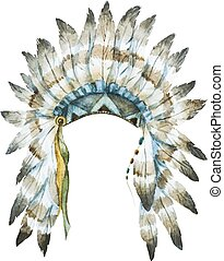 Native hat - Beautiful image with nice watercolor native hat