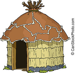 Native hut on a white background vector illustration