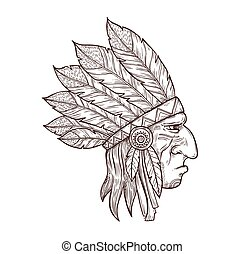 Native Indian chief head in feather headdress