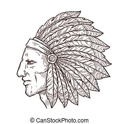 Native Indian chief sketch, feathers headdress