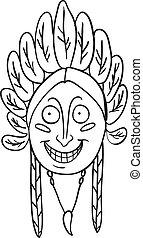 Native Indian head, vector illustration