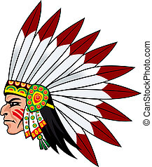 Native indian people with feathers on the head for mascot...