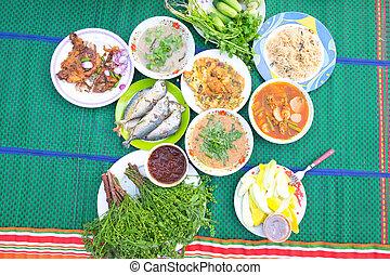 native., północny wschód, jadło, komplet, tajlandia, thai, :