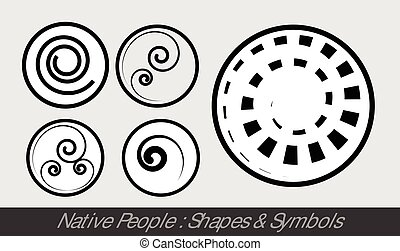 Native People - Religious Symbols Vector Illustration