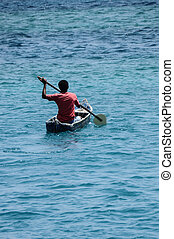 Native Rowing at Combian Sea. South America. - Colmbian ...